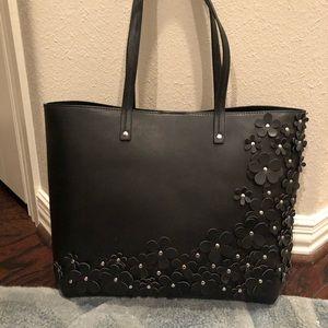 NWOT Chelsea28 black floral embellished tote bag